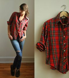 woodsman christmas plaid shirt. cute.