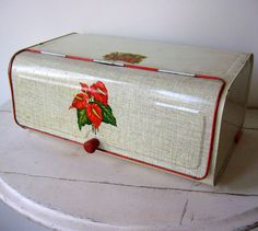 French Vintage Tin Bread Box Cream and Red
