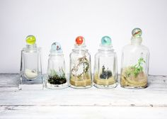 Marble top glass bottles.