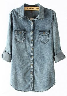 Blue Buttons Lapel Long Sleeve Denim Blouse
