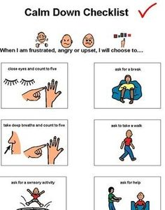 Calm down checklist. Good one. FREEBIE Repinned by  SOS Inc. Resources  http://pinterest.com/sostherapy.