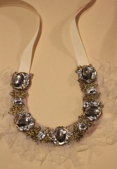 DIY bib necklace from stripes + sequins