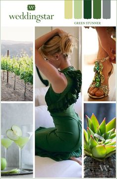 Alight with earthy green hues, this wedding color board is truly a Green Stunner! See it here: http://blog.weddingstar.com/wedding-planning-essentials-inspired-by-color-green-stunner/