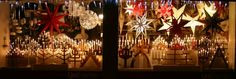 A variety of Swedish Christmas stars and electric advent candles in the window of Ljusexperten (Light Expert) in Linköping, Sweden. Photo: Wikimedia Commons. adventssjärna