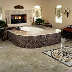 fireplace in master bath