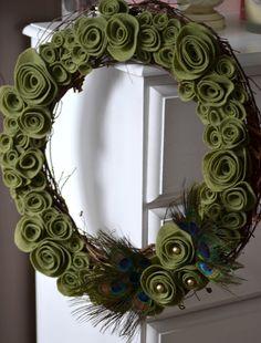 Natural Felt Flower Peacock Wreath by Thread Owl on Etsy, $35.99