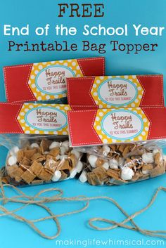 FREE Printable Bag Topper for End of the Year Gift to Classmates! www.makinglifewhimsical.com
