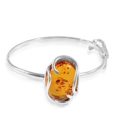 Liquidation Channel: Baltic Amber Bangle in Sterling Silver (Nickel Free)