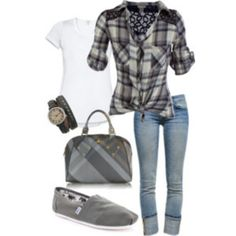 Plaid & grey toms outfit- hmmm cute! Might have to give into those Tom's after all!