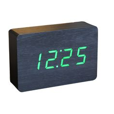 Gingko -     The clock displays the time, date and temperature in three alternating colours, and automatically switches off when the room is quiet, lighting up again only when the alarm goes off or as a response to clicked fingers or clapped hands.