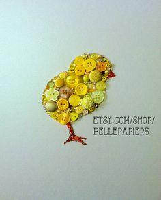 Button Art Baby Chick Adorable Baby Chick Art  #buttonart #buttons #swarovski #handmade #crafts #diy #art #kitchen #homedecor #handmade #crafts #diy #chicken #chick #easter