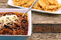 Game Day Chili Chili is the ultimate #football food.  This #recipe is just a little bit different than the rest.  You have to try it!  Perfect, scooped up with some tortilla chips!  #chili #beef #fallrecipes