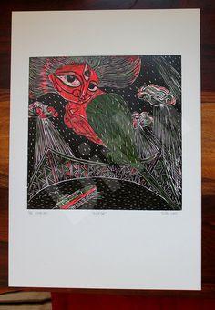 Durga ORIGINAL Woodcut Print 2/6 by Deezden on Etsy, $220.00