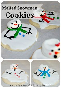 Cutest Cookies Ever!!! Melted Snowman Cookies from www.SomewhatSimple.com #snowman #cookies
