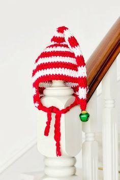 Adorable free Baby Candy Cane Elf Hat Crochet Pattern via Hopeful Honey