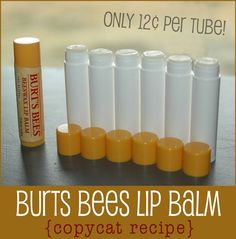 So easy to make your own Burts Bees Lip Balm from home. Takes about 3 minutes to melt ingredients and pour into tubes/containers. MUST MAKE THIS! @Karrie | HappyMoneySaver