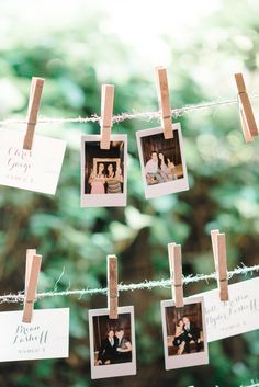 Escort Cards on a clothesline - Then Replace the card with a Polaroid Snapshot! On SMP: http://www.stylemepretty.com/2013/11/13/nashville-wedding-from-michelle-lange-photography/ | Photography: Michelle Lange