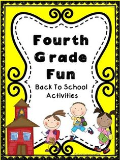 Back To School Activities - Fourth Grade Fun - A great product for fourth grade students! - education