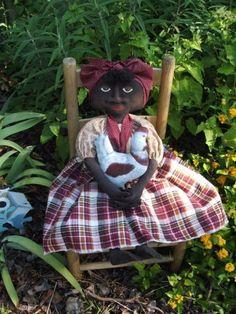 Primitive Mammy Doll with CHICKEN PATTERN Ssod by Raggedyrhondas