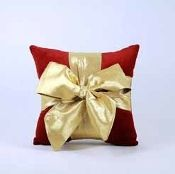 Woof n Poof Christmas Pillows, Package Pillow, Med. Red