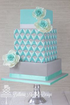 beauti cake, pretti cake, wedding cakes, blue cakes, triangl