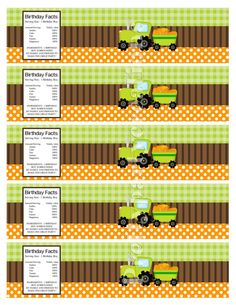 PUMPKIN TRACTOR water labels  YOU Print  by PrettyPartyCreations