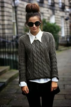 Fall Style With Wire Knit Sweater and Circle Shades