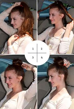 The Four-Step Bun... I'm just wondering why she's in a car?