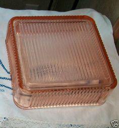 Large Glass Refrigerator Dish Federal Depression Glass  Pink | eBay