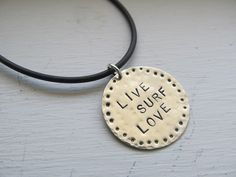 Surf jewelry LIVE SURF LOVE Hand stamped in sterling silver by JoDeneMoneuseJewelry, $32.00