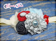 Red Grey Baby Blue Hair Bow Fabric Flower by CrowningPetals, $17.75