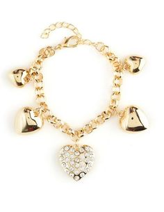 Rhinestone Heart Charm Bracelet: Charlotte Russe