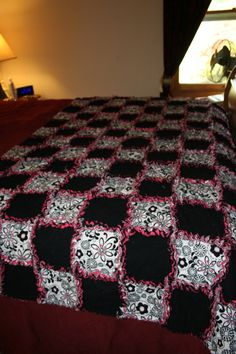 Bed Runner/Couch Top Rag Quilt by Americarican1 on Etsy, $96.00