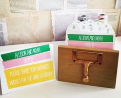 Wedding Guest Book Library Card Catalog - Washi Tape Design - Personalized. $75.00, via Etsy.