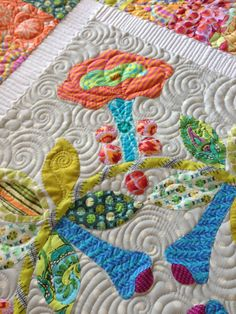 Sue's applique sampler:  Longarm quilting by Gina Beans Quilts