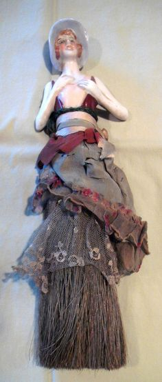 Vintage German Porcelain Half Doll Whisk Broom Doll | eBay