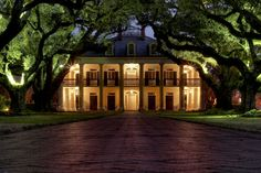 This will be the location for my wedding and reception. It's an old southern plantation called Oak Alley and it was named for the rows of live oak trees which were planted in the early 1700s. This photo shows how it will be lit up for my evening-time ceremony.