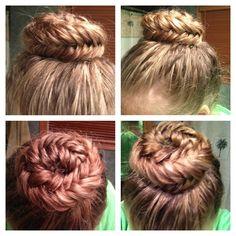 Fishtail box braid bun:)