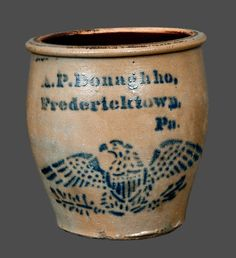 "Price Realized: $ 1,495.00 Scarce One-Gallon Stoneware Cream Jar with Stenciled Cobalt Federal Eagle Decoration, Stenciled ""A.P. Donaghho, / Fredericktown, / Pa.,"" circa 1875, ovoid jar with flattened rim, decorated with a finel"