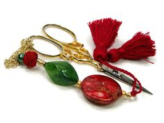 Beaded Scissor Fob Cross Stitch Needlepoint Poppy by TJBdesigns, $18.00