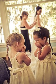 Flower girls reaction to bride getting ready