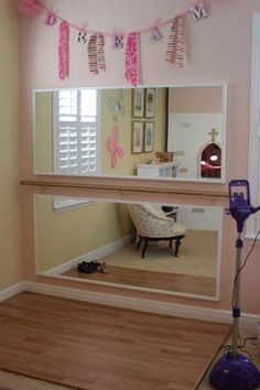 """DIY A Pretty Ballet """"Ballerina Princess"""" Studio/ Dance and Sing Corner. This will fitt in almost any BedRoom. Let them Explore their talent.The little Dance Stage (Laminated Square) with Framed Mirrors and a Barré (stair railing and 2 supports) on the Wall. Music Please :-D"""