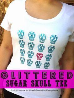 Crafty Chica Glittered Sugar Skull T-shirt