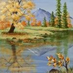 A panel or canvas featuring all the sights and colors of a beautiful fall day on the bank of a small lake. Decorative painting.
