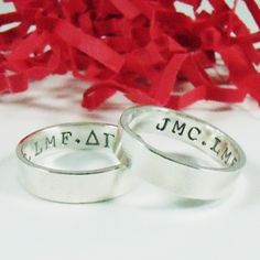 Hand Stamped Best Friends Ring Set Sterling Silver 4mm x 1mm hand stamped, friend jewelri, ring set, hands, friend ring, person ring, creation jewelri, friendship jewelri, christma