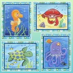 Sealife/ocean animals Nursery/Bathroom Art/Decor Print | eBay