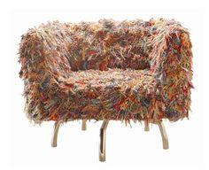 """Giramundo Chair"" made from recycled multi coloured yarn."