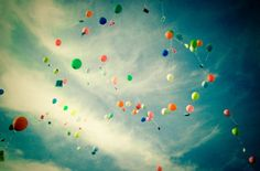 #balloons #clouds #blue #sky