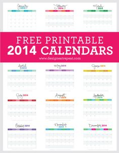 2014 Free Printable Monthly Calendars