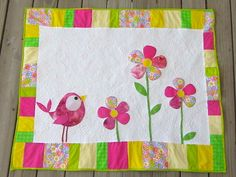 Bright baby girl quilt  birds and flowers by ChrystiCorner on Etsy, $35.00 free motion quilt
